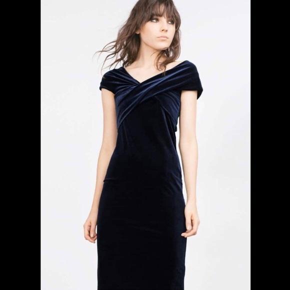 767c8a53 Zara Dresses | Blue Velvet Dress | Poshmark